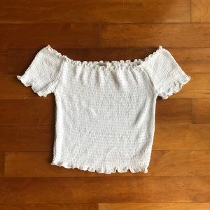 White Ribbed Off The Shoulder Crop Top || S